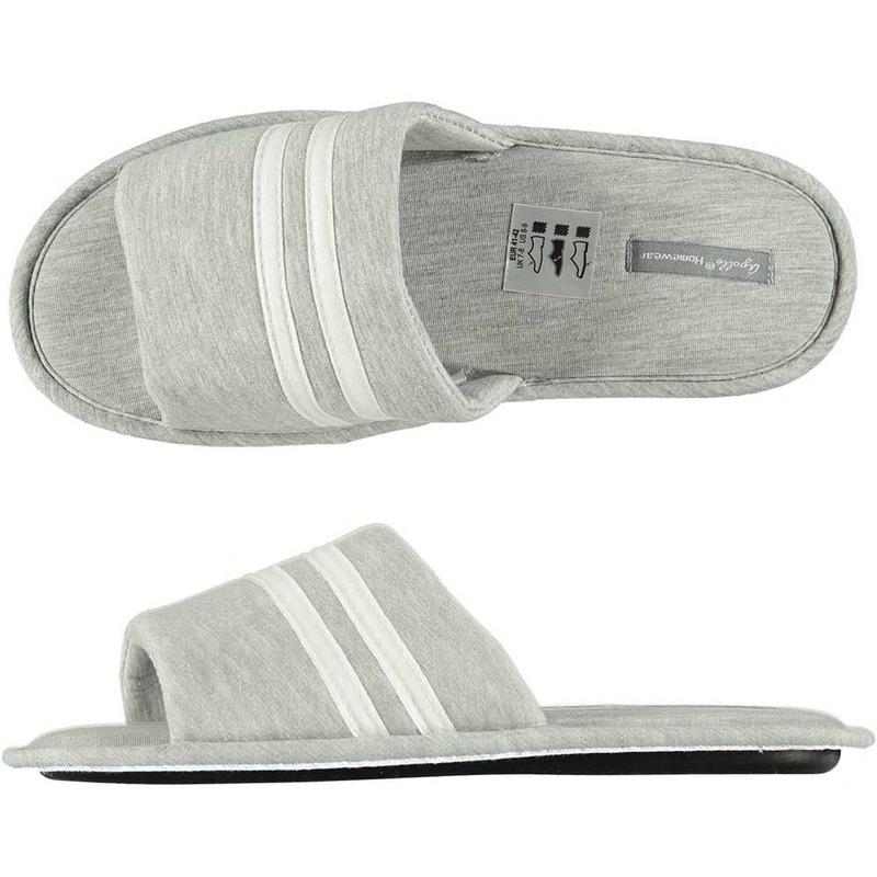 Huis slippers grijs wit gestreept voor heren