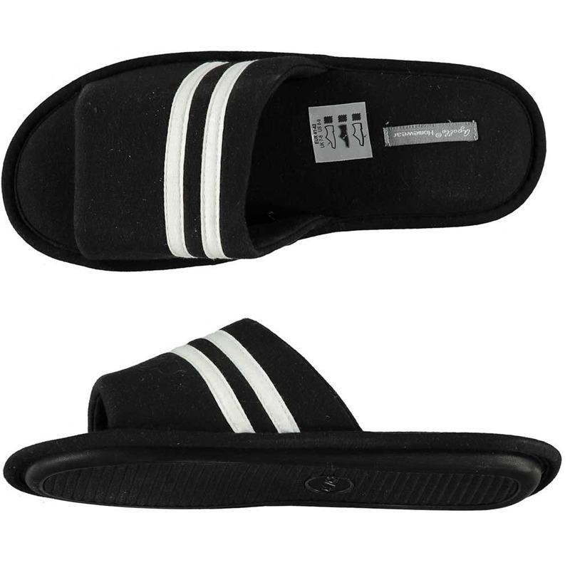 Huis slippers zwart wit gestreept voor heren
