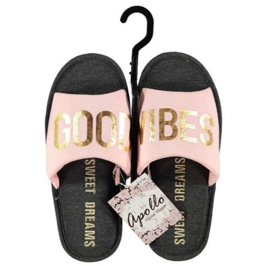 Open sloffen pantoffels slippers roze zwart voor dames