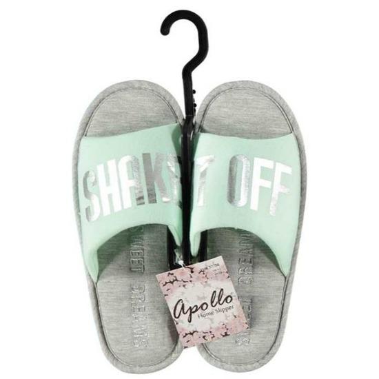 Open sloffen pantoffels slippers mint grijs voor dames
