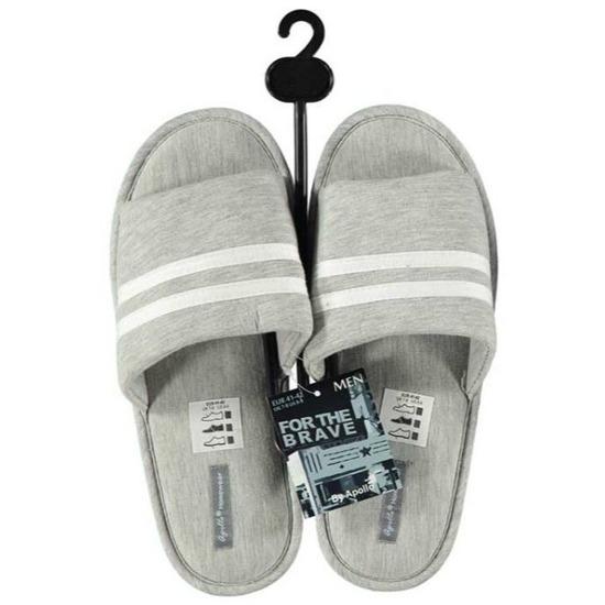 Open sloffen pantoffels slippers grijs voor heren